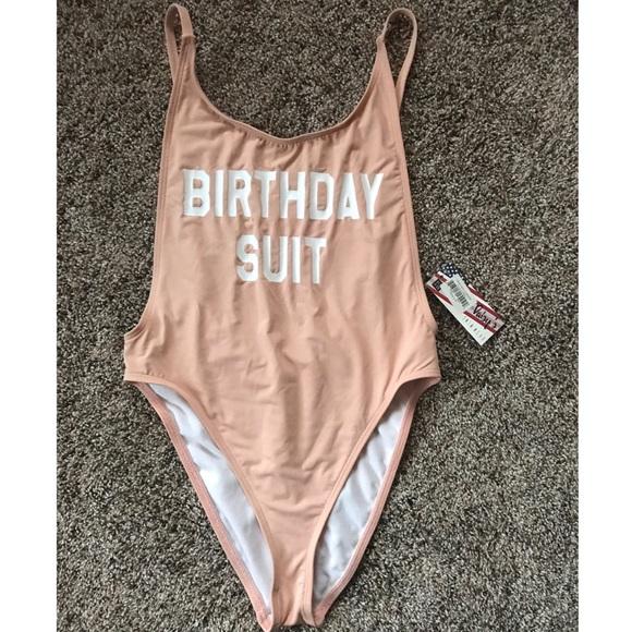 """c987ba0735801 """"Birthday Suit"""" One Piece Swimwear- Small"""